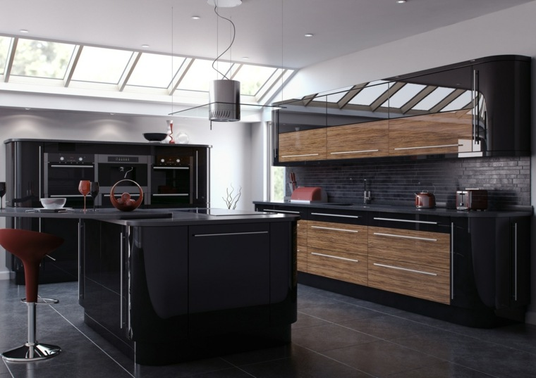 Black Kitchen And Wood Elegance And Nature A Spicy Boy