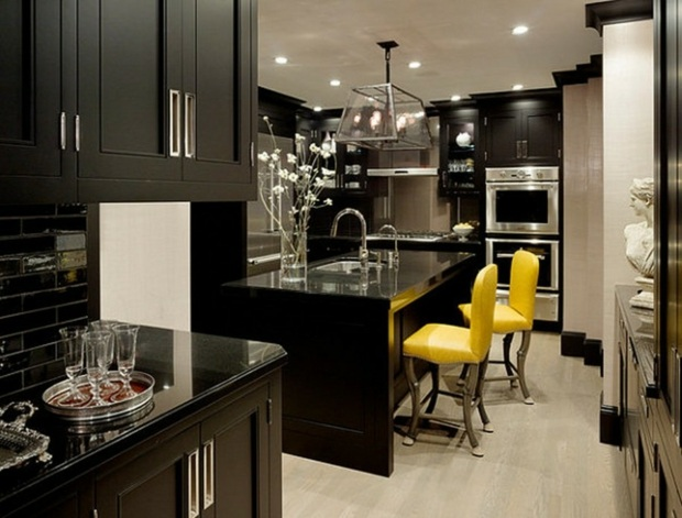 The Kitchen Decorated In Yellow And Black 15 Examples A Spicy Boy