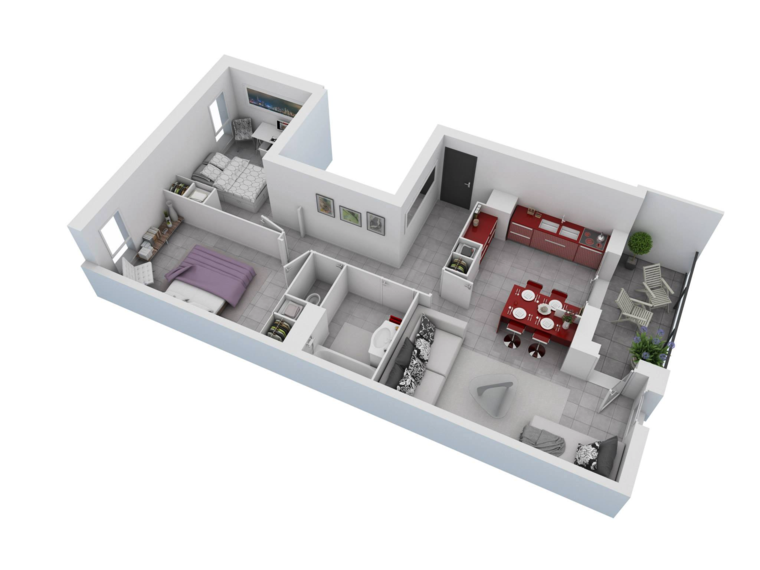 3d Apartment House Plan 2 Rooms In 60 Examples A Spicy Boy