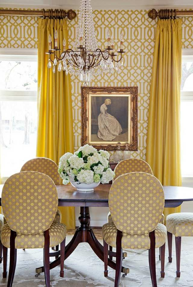 Yellow Dining Room Very Warm Examples, Yellow And White Dining Room