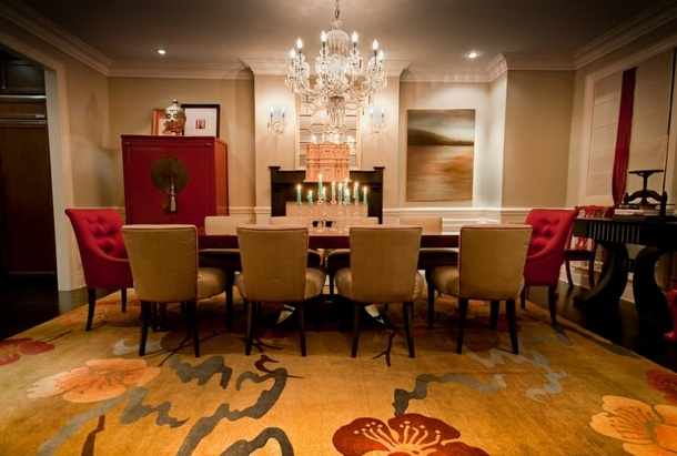 Elegant Dining Room Decoration In Red, Red And Brown Dining Room Ideas